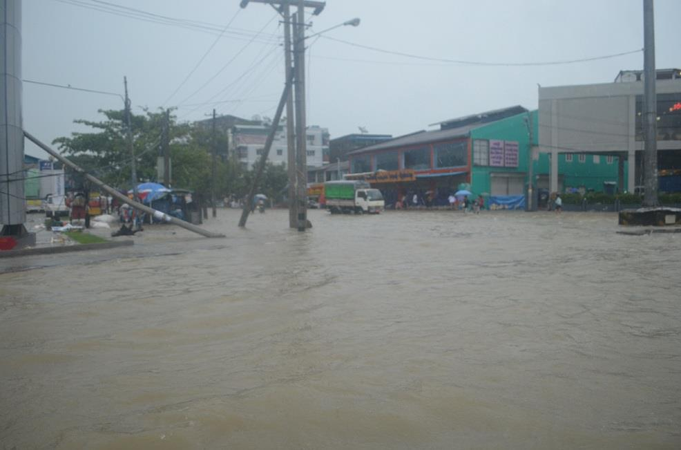 A scene of Yangon during heavy rain due to the storm's affect