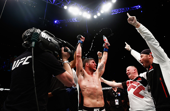 LONDON, ENGLAND - FEBRUARY 27:  Michael 'The Count' Bisping of England celebrates after his victory over Anderson 'The Spider' Silva of Brazil in their Middleweight bout during the UFC Fight Night held at at Indigo at The O2 Arena on February 27, 2016 in London, England.  (Photo by Dean Mouhtaropoulos/Zuffa LLC/Zuffa LLC via Getty Images)